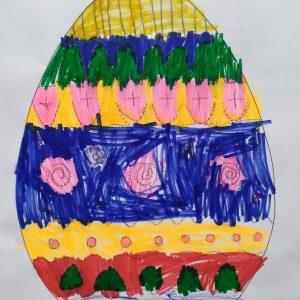 pokolorowane jajko wielkanocne
